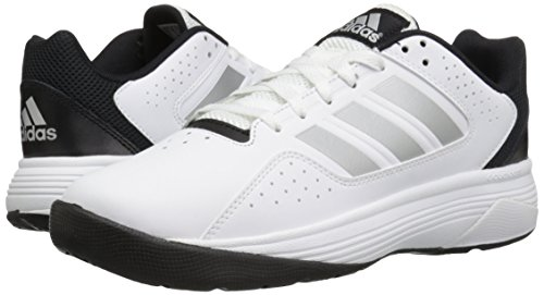 adidas Men's Cloudfoam Ilation Basketball Shoe, White/Matte Silver/Black, 8.5 M US