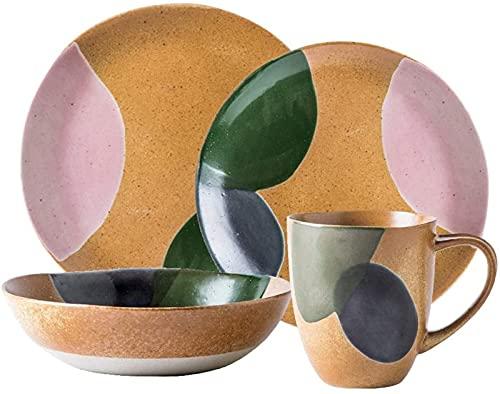 Juego de Platos, Conjuntos de vajilla de cerámica Vintage, Conjuntos de Cena Porcelana con Fondo Amarillo y Acabado de Acuarela Verde, Platos y Cuencos, combinación de Servicio de Mesa para 1 Persona