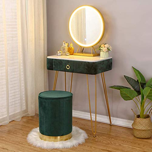 N/Z Daily Equipment Fashion Dressing Table Vanity Table Set with LED Touch Screen Dimming r Dressing Table Side Table And Velvet Cushioned Stool for Women Bedroom Makeup Dressing Room Gray