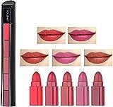 5 en 1 Lápiz labial mate Maquillaje Clásico No deja marcas Impermeable Duradero Suave Alcance suave Colores Labios llenos Brillo antiadherente Hidratante para mujeres Regalo (A)