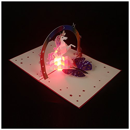 Popvip Unicorn Pop up Card, Birthday Card, 3D Card, Hand-Made Light Up Music Greeting Card for Birthday, Envelopes Included