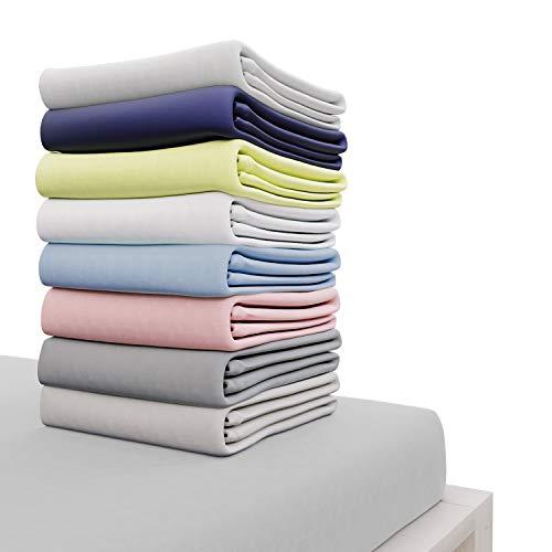 Dreamzie - Spannbettlaken 140x200 cm - 100% Jersey Baumwolle Zertifiziert Oeko-TEX® - Grau - Für Matratzen 140 x 200 x 22 cm