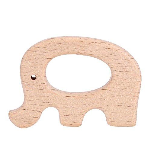 5Pcs Beißring Elefant Holz, Beißring Holz, Natürliches holzbeißring baby, niedliche Tierform für Säuglinge Zahnen, BPA-frei(Elefant)