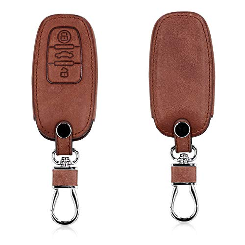 kwmobile Autoschlüssel Hülle kompatibel mit Audi - Kunstleder Schutzhülle Schlüsselhülle Cover kompatibel mit Audi 3-Tasten Autoschlüssel Keyless - Dunkelbraun