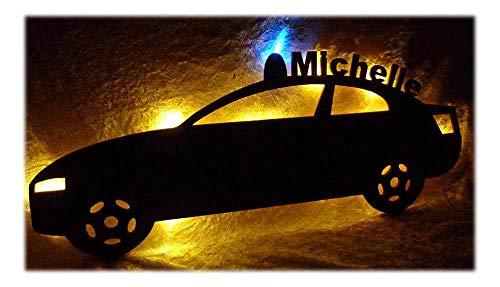 Schlummerlicht24 Led Design Polizei-auto Nachtlicht Lampe Geschenke zur Geburt Taufe mit individuellem Name-n Geburts-Geschenk personalisiert-e Kommunion Taufgeschenk-e Kind-er Zimmer Beleuchtung Baby