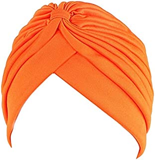 Jixin4you Pleated Solid Bow Head Cover Headscarf Muslim Turban Chemo Hat for Cancer Patient