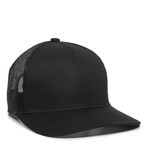 Outdoor Cap Structured mesh Back Trucker Cap, Black, One Size