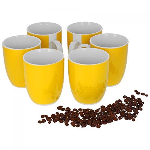 Van Well Vario 6er Kaffeetassen-Set I Porzellan-Tasse groß - in div. fröhlichen Farben I pflegeleichtes Tassen-Set - für Spülmaschine & Mikrowelle geeignet I 300 ml Kaffeebecher Gelb 6 Stück