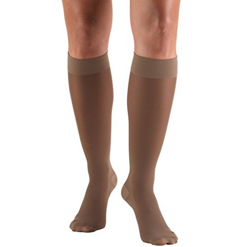 Truform Sheer Compression Stockings, 20-30 mmHg, Womens Thigh High Length, 30 Denier, Taupe, Large