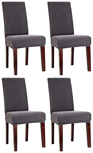 Bellboni Stuhlhussen, strapazierfähige, hochwertige Stuhlbezüge aus starkem Stoff, Stuhlüberzüge, Hussen passend für viele Stuhlgrößen elastisch, bi-Elastic, 4 Pack, Elastic Anthracite/anthrazit