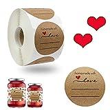 Etichetta in Carta Kraft Etichetta Homemade Carta Kraft con Amore Adesivi Adesivi Rotondi Fatti a Mano Rotolo di Etichette Decor