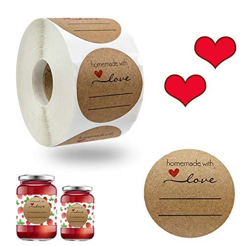 Kraft Selbstgemacht 500 Stück Runder Aufkleber Abdichtung Aufkleber Etiketten Homemade with Love Aufkleber, für Backen Geschenktüten Hochzeit