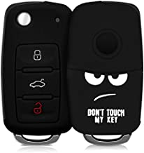 kwmobile Silicone Key Fob Cover Compatible with VW Skoda SEAT 3 Button Car Key - Don't Touch My Key White/Black