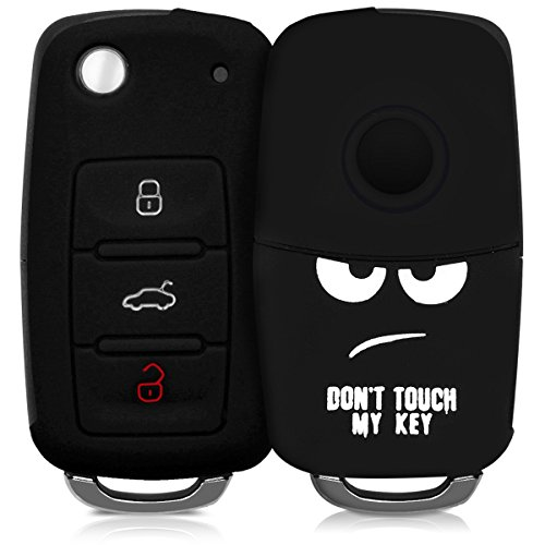 kwmobile Autoschlüssel Hülle kompatibel mit VW Skoda Seat 3-Tasten Autoschlüssel - Silikon Schutzhülle Schlüsselhülle Cover Don't Touch My Key Weiß Schwarz