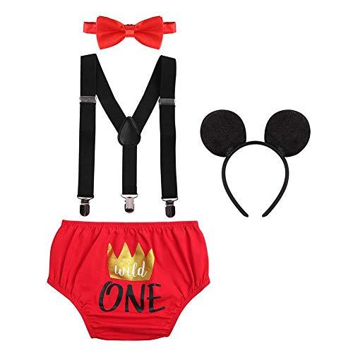 Juego de 4 piezas para bebés recién nacidos y bebés con diseño de Mickey Wild One Crown para el primer segundo cumpleaños, para fiesta de disfraces, 4 piezas para cubrir pañales, diademas para fotos