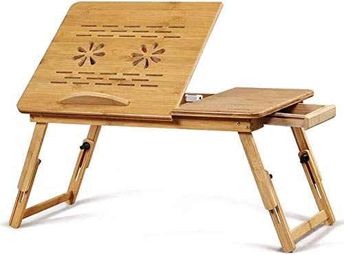 Draagbare bamboe laptopstandaard Klaptafel Laptoptafel Laptop Bedlade Bedtafel Met antislip Baffle Floral Design Bed Speeltafel
