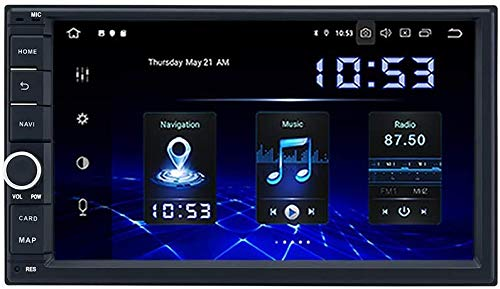 AEBDF Android 10.0 Universal Double DIN GPS Navegación, Pantalla táctil estéreo de 7 Pulgadas Sat Nav Multimedia Player Control de teléfono SWC Video Receptor