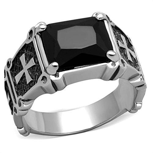 YourJewelleryBox TK2055PB MENS Stainless Steel CZ ring black signet pinky CROSS EMERALD CUT SIZE T USA 10