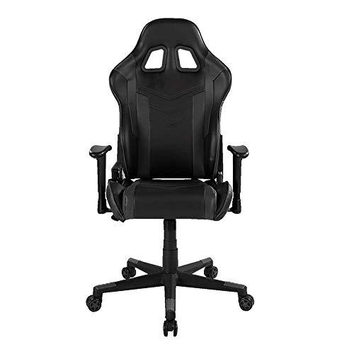 DHTOMC Silla de ordenador ergonómica, silla de escritorio, silla de videojuego, silla de poliuretano, silla de carreras envuelta, asistencia de disparador de 4 modos (color negro).