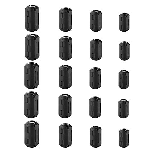 XShine Pack of 20 Clip-on Ferrite Ring Core Black RFI EMI Noise Suppressor Cable Clip for 5mm/7mm/9mm/13mm Diameter Cable