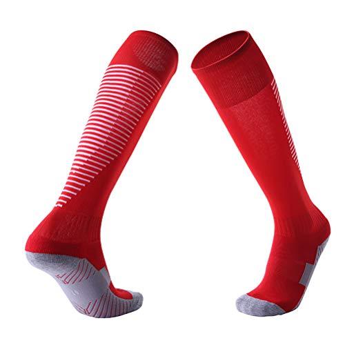 Über dem Knie Fußballsocken 5 Paare Erwachsene rutschfeste Verdickung Handtuchboden lange Schlauch Socken Schweiß absorbierende Sport Socken tragen,Red