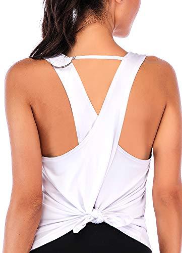 INSTINNCT Damen Tank Tops Casual Ärmellos Rückenfrei Shirts für Yoga Workout #0 Weiß L