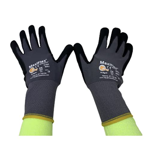 ATG 3 Pack MaxiFlex Endurance 34-844 Seamless Knit Nylon Work Glove with Nitrile Coated Grip on Palm & Fingers, Sizes Small to X-Large (Medium), Black and Gray, Model Number: 34-844 - MEDIUM - 3/PACK