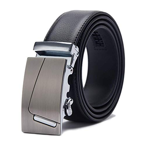 TANGCHAO Cinturón Hombre Cuero, Cinturon con Hebilla Automática Cinturones de Trinquete 35mm de Ancho Negro 115-145cm