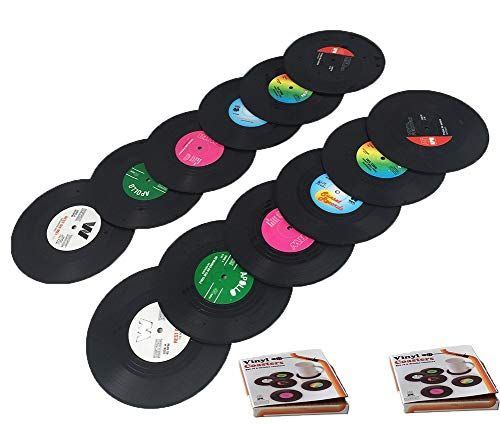Tafeiya personalizzati sottobicchieri set di 12 retro CD record vinyl anti-heat/slip sottobicchieri per caffè tè boccale di birra vino in vetro casa e bar