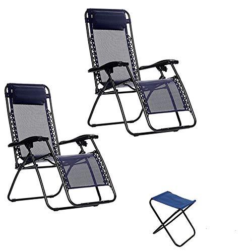 Arcoiris - Tumbona Gravedad Cero Tumbona Plegable 2 Pack Azul, Multiposiciones, Jardin,Terraza, 4 Colores (2Pack + 90218, Azul)