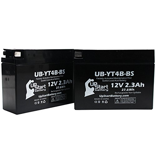 2 Pack - YT4B-BS Battery Replacement (2.3Ah, 12v, Sealed) Factory Activated, Maintenance Free Battery Compatible with - 2015 Yamaha SR400, 2008 Suzuki DR-Z70, 2009 Suzuki DR-Z70, 2006 Yamaha TTR50E