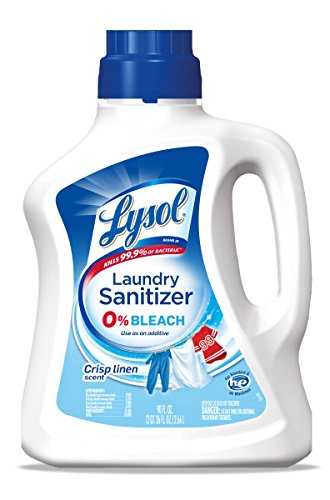 Lysol Laundry Sanitizer Additive, Crisp Linen, 90oz, Bacteria-Causing Laundry Odor Eliminator, 0% Bleach Laundry Sanitizer, Multicolor