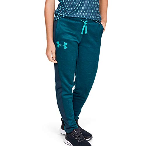 Under Armour Girls\' Armour Fleece Pant, Tandem Teal//Breathtaking Blue, Youth Small