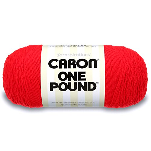 Caron One Pound Solids Yarn, 16oz, Gauge 4 Medium, 100% Acrylic - Scarlet- For Crochet, Knitting & Crafting ( 1 Piece )