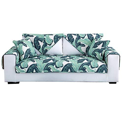 kinfuki Funda para Sofa Chaise Longue elasticas,Funda de sofá Antideslizante de algodón (2 Fundas de Almohada Gratis) -Papel de Palma, 90 * 210
