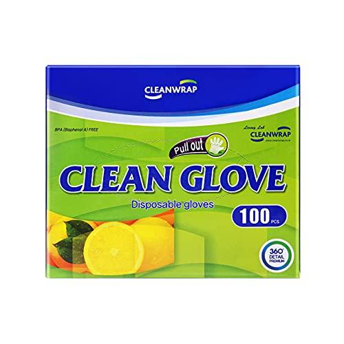 Cleanwrap Disposable Gloves 100Piece, LDPE, BPA FREE, Transparent glove, Food handling, Safe glove, Household Gloves, Household Cleaning Gloves, Food gloves, Disposable gloves