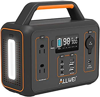 Allwei Portable Power Station with 600W Peak, Pure Sine Wavem LED