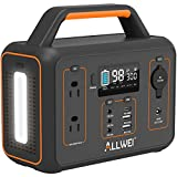 ALLWEI Portable Power Station, 300W/Peak 600W Solar Generator 280Wh/78000mAh CPAP Backup Lithium Battery Pack with LED light,Pure...