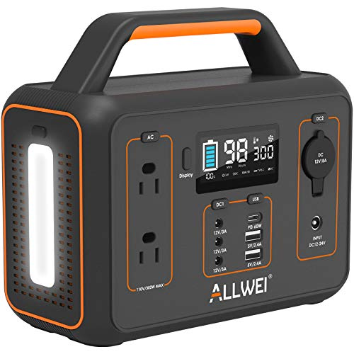 Allwei Portable Power Station with 600W Peak, Pure Sine Wave, LED - $212.49