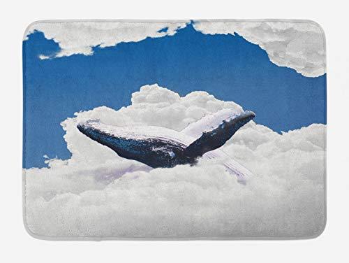 ABAKUHAUS Animal Tapete para Baño, Gran océano Blanco de Ballena, Decorativo de Felpa Estampada con Dorso Antideslizante, 45 cm x 75 cm, Azul y Blanco