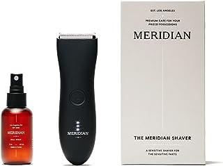 بسته کامل توسط Meridian: شامل برقی ضد آب مردانه زیر کمربند و اسپری (50 میلی لیتر) - ویژگی های تیغه های سرامیکی و فن آوری تراش حساس (Onyx)