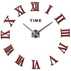 3D Big Acrylic Mirror Wall Clock Watch Still Life Clocks Modern Home Decoration Living Room Stickers,Red,37inch