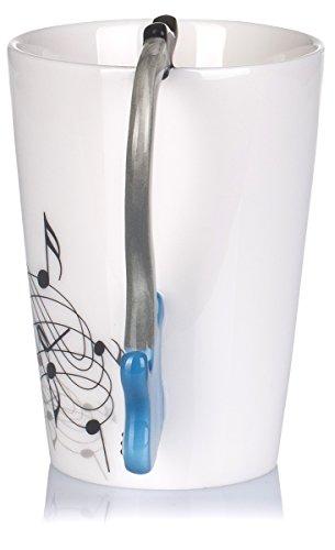 """Keramiktasse mit Motiv Henkel – Weiß Bedruckt """"E-Gitarre"""" Design ca. 0,2l – Tee & Kaffee Tasse zum Verschenken – Grinscard - 8"""