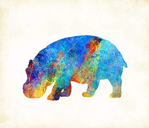 Hippo Watercolor Art Print by Artist Dan Morris