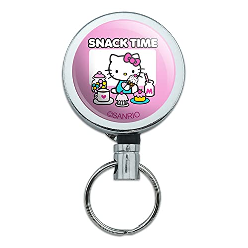 Hello Kitty Snack Time Heavy Duty Metal Retractable Reel ID Badge Key Card Tag Holder with Belt Clip