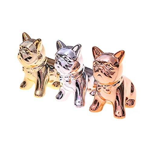 Mini Bulldoggen Figuren 3-er Set - 3X Deko-Figur für Innen, Balkon & Garten - Hunde-Skulptur als Wohnaccessoire Designer Dekoration