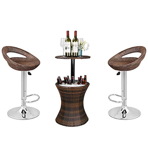 Nova Microdermabrasion 3in1 Outdoor Patio Backyard - Adjustable Pub Swivel Barstool + Cooler Bar Table