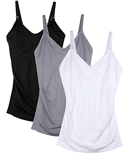 DAISITY Womens Maternity Nursing Tank Cami for Breastfeeding with Adjustable Straps Pack of 3 Color Black Grey White Size M