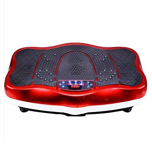 WXH Máquina de Ejercicios con Plataforma vibratoria de Fitness, Masaje con pies y presión magnética para pies, Bluetooth y Puerto USB, Modo de Experiencia multifunción 0/99,Red