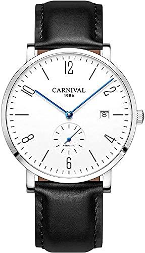 ZFAYFMA Relojes de lujo, relojes de hombre, ultrafinos automáticos mecánicos de cuarzo, correa de cuero analógica, casual, de lujo, impermeable, regalo de cumpleaños negro
